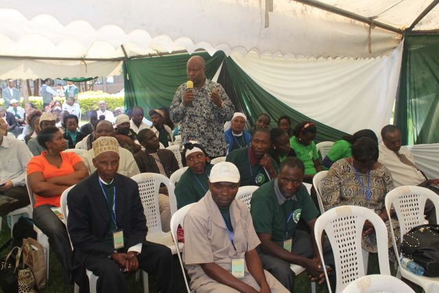 A Tanzania delegate gives his view during the panel discussions of the fair