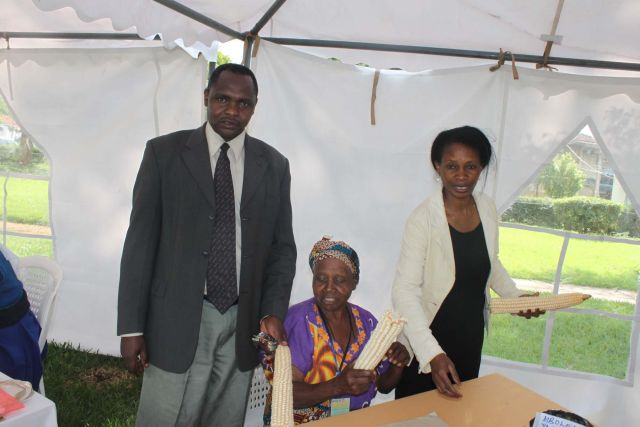 Display of maize from TZ by the lady farmer innovator (middle)